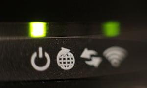 Broadband router closeup