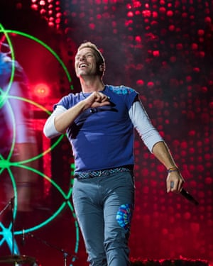 Chris Martin of Coldplay, who have developed an app and given fans interactive bands at gigs.