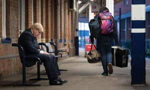 Boris Johnson waiting for a train at Doncaster while campaigning earlier this week.