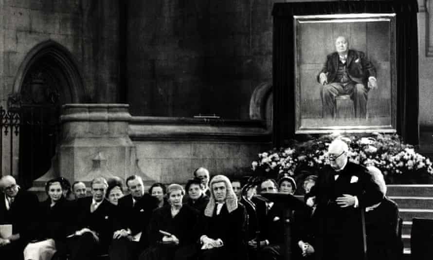 Winston churchill in parliament accepting his portrait