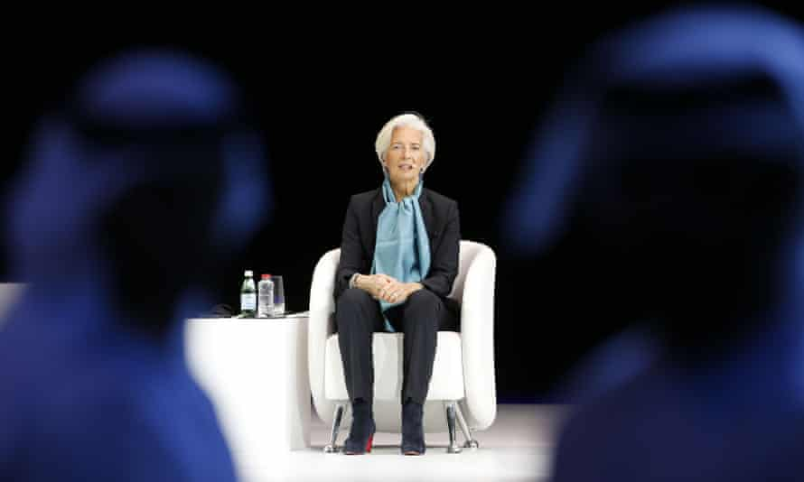 Christine Lagarde, the head of the IMF, at the Global Women's Forum in Dubai.