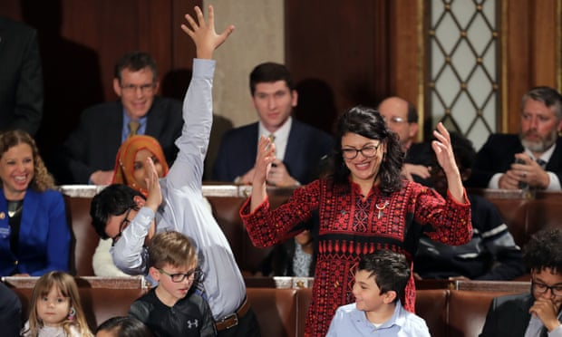 Tlaib at her swearing-in ceremony on Thursday. Pelosi rejected Tlaib's profanity and her impeachment promise