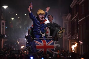 Lewes, UKEffigies of the leader of the House of Commons, Jacob Rees-Mogg, and the prime minister, Boris Johnson, are paraded through the streets during Bonfire Night celebrations