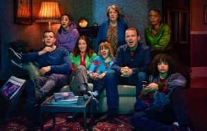 The Lyons family in Years and Years, played by (l to r): Russell Tovey, Jade Alleyne, Jessica Hynes, Ruth Madeley, Anne Reid, Rory Kinnear, T'Nia Miller and Lydia West.