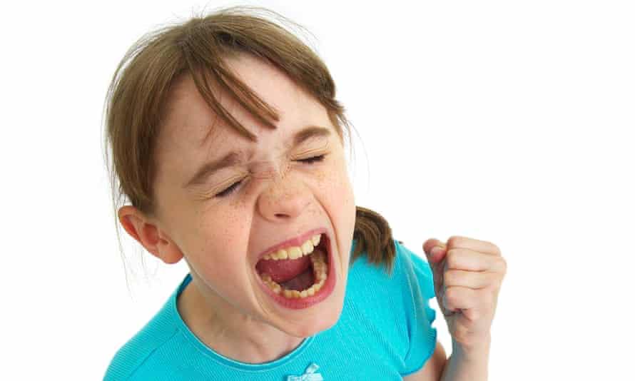 Young girl having a temper tantrum