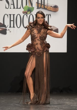 French TV Host Karine Lima models a chocolate embellished dress
