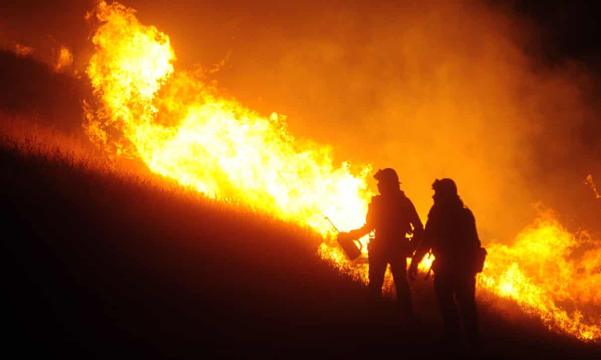 Fire crews work to contain the Qual fire near Winters, California, on 6 June. Photograph: Neal Waters/ZUMA Wire/REX/Shutterstock