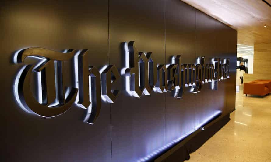 Newspaper banner logo is seen during grand opening of Washington Post in Washington