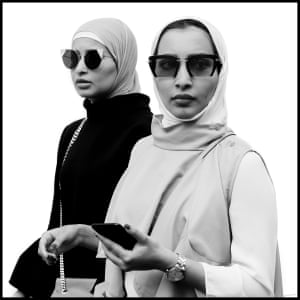 Two shoppers in black & white on London Street