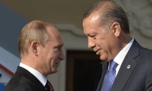 Vladimir Putin and Recep Tayyip Erdoğan at the start of the G20 summit in Saint Petersburg in 2013.