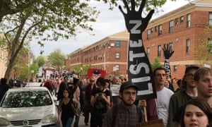 A Freddie Gray-related protest takes place by Gilmor Homes.