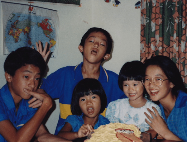 Benjamin Law as a child with his family.