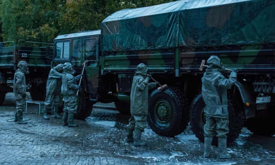 Washing army trucks