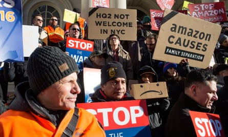 An Amazon protest in New York in January. The company said: 'We are disappointed to reach this conclusion.'