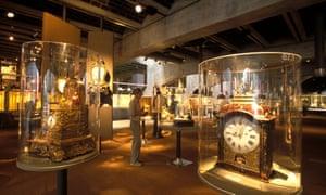 Huge antique clocks inside cases at the International Clock-Making Museum, La Chaux de Fonds.