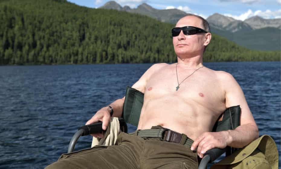 Vladimir Putin sunbathes