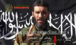 Veteran jihadist Mokhtar Belmokhtar in a video released by Sahara Media on 21 January 2013. He was reportedly killed in a US air strike on Saturday.