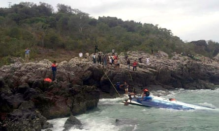 The boat after it capsized off Koh Samui, killing four tourists including two Britons.