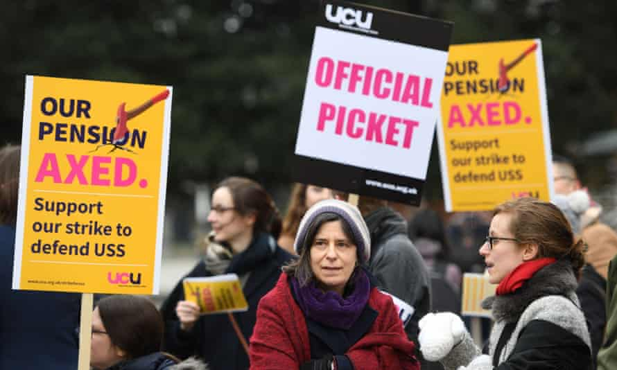 Staff and students protest outside Cambridge University's Sidgwick site on Thursday.