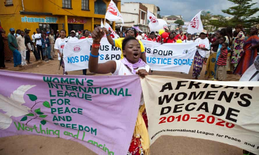 Participants in the World March of Women in Bukavu, in the east of the Democratic Republic of the Congo, in October 2010. The march attracted about 20,000 women including the first lady, Olive Lembe Kabila.