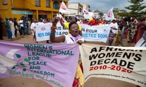 Women in Bukavu, in the Democratic Republic of the Congo's South Kivu province, participate in the World March of Women in October 2010