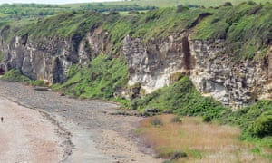 The soft magnesian limestone cliffs of the Blast erode easily but are partially protected from the sea by the raised beach of colliery waste.