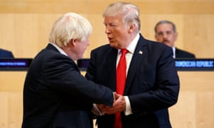 President Donald Trump shakes hands with Boris Johnson, then British foreign secretary, during the United Nations General Assembly in New York in September 2017.