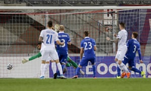 Iceland's Birkir Saevarsson (second right) opens the scoring.