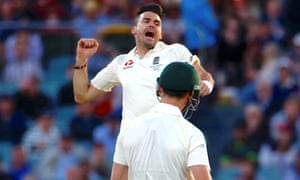 England's James Anderson celebrates after taking the wicket of Cameron Bancroft.