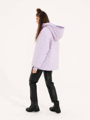 pale lilac coat Stories, black trousers Stories, lace up boots Mango