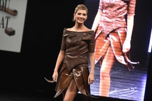 Miss France 2015 Camille Cerf models a chocolate dress