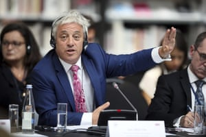 Bercow gestures during a meeting at the G7 parliaments summit, in Brest, western France, in 2019