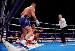 David Haye is knocked down in the third.