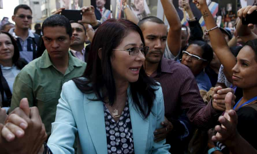 Cilia Flores greets supporters upon her arrival at the National Assembly in Caracas on Tuesday.