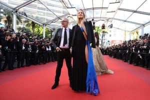 French fashion designer Jean-Paul Gaultier and guest arrive for the screening of the film 'The Killing of a Sacred Deer'
