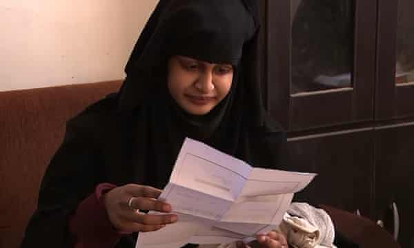 Shamima Begum reading the letter from the Home Office revoking her British citizenship.