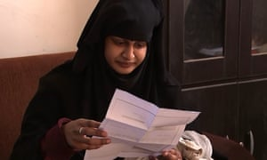 Shamima Begum reads a letter from the Home Office saying her British citizenship is being revoked.