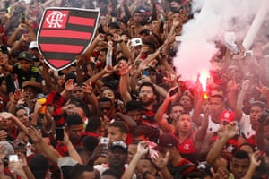 """Flamengo fans see off the squad with a party called the """"Aerofla"""" before their trip to Lima."""