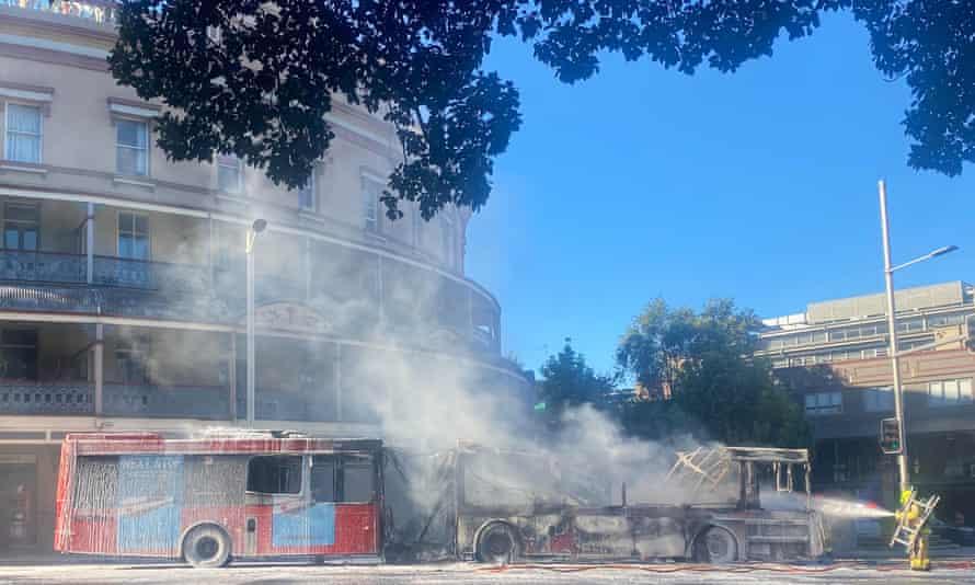 Bus destroyed by fire in Glebe, Sydney