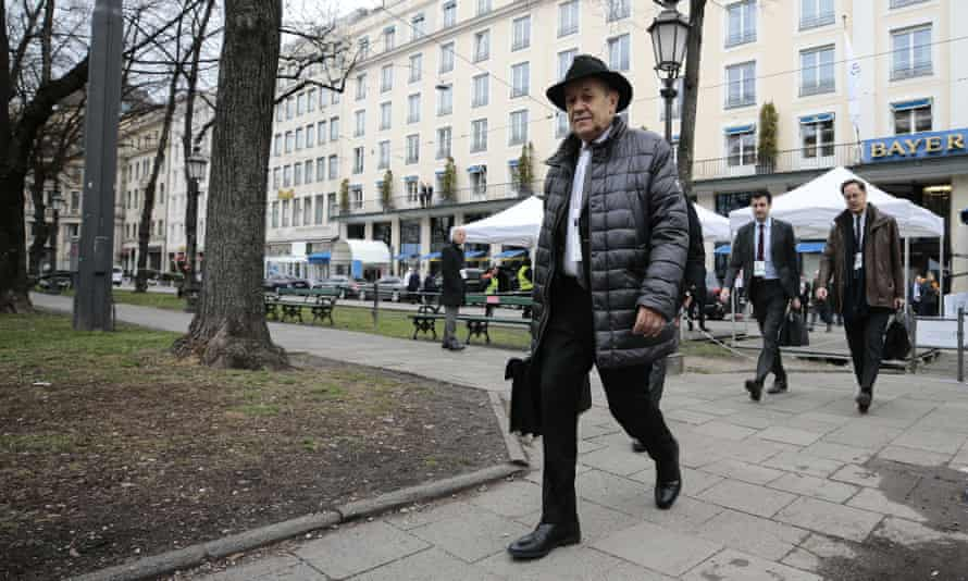 The French foreign minister, Jean-Yves Le Drian, arrives in Munich for the security forum