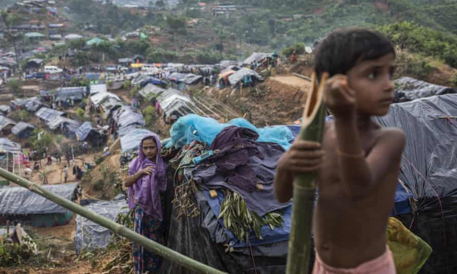 Rohingya fleeing the violence in Myanmar to find refuge in neighbouring Bangladesh.