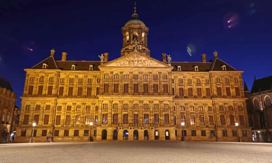 The Royal Palace Amsterdam, which is closed to the public until further notice because of the coronavirus.
