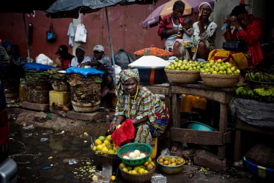 Women in a market in the Magazine Wharf area of Freetown, Sierra Leone