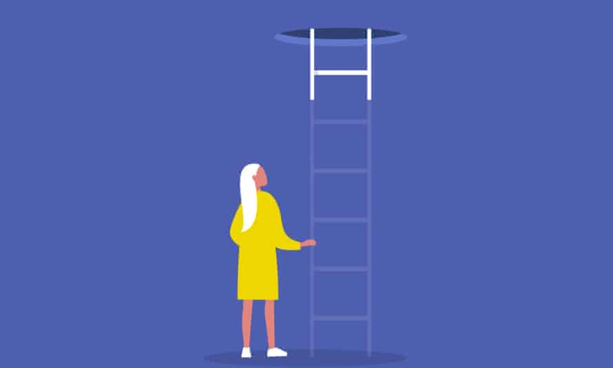 Young female character holding a ladder that no longer exists.