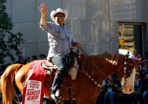 Mayor Nenshi at the annual Stampede rodeo parade in Calgary.