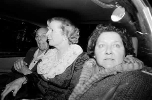 Margaret Thatcher, centre, her husband, Denis, and her aide Cynthia Crawford leaving the Grand hotel in Brighton after the bomb attack by the IRA in 1984. 'We got the story out,' Downing said.