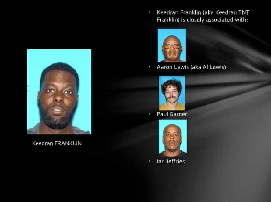 In this slide from a Memphis Police Department powerpoint titled Blue Suede Shoes, officials name close associates of protester and activist Keedran Franklin.
