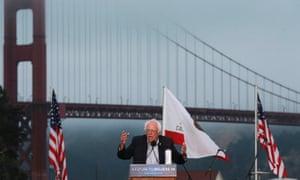 Bernie Sanders speaks at a campaign rally in San Francisco on 6 June 2016.