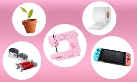 Composite of some of the best selling Australian items during coronavirus lockdown: a potted plant, toilet paper, weights, a sewing machine and a Nintendo Switch