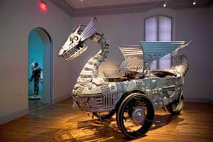 """""""Tin Pan Dragon"""" by Duane Flatmo is seen during the No Spectators: The Art of Burning Man exhibition at the Renwick Gallery in Washington, DC on March 29, 2018. The show brings artwork from the Nevada desert gathering to Washington for the first time. The exhibition runs from March 30, 2018 to January 21, 2019. / AFP PHOTO / Mandel NGAN / RESTRICTED TO EDITORIAL USE - MANDATORY MENTION OF THE ARTIST UPON PUBLICATION - TO ILLUSTRATE THE EVENT AS SPECIFIED IN THE CAPTIONMANDEL NGAN/AFP/Getty Images"""